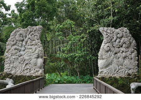 Gate In Bali With The Jungle In The Back