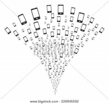Smartphone Festive Fountain. Vector Illustration Style Is Flat Iconic Symbols. Object Fountain Const
