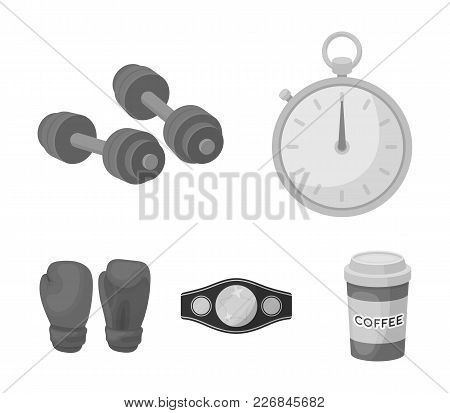 Boxing, Sport, Stopwatch, Watch .boxing Set Collection Icons In Monochrome Style Vector Symbol Stock