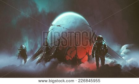 Sci-fi Horror Scene Of Two Astronauts Found The Mysterious Alien Egg, Digital Art Style, Illustratio