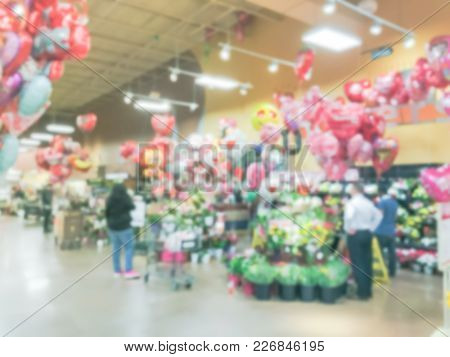 Blurred Of Floral Department In Local Store At Irving, Texas, Us