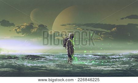 The Astronaut Standing By The Sea Against Background Of The Planet, Digital Art Style, Illustration