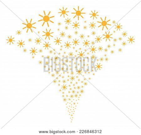Sun Explosion Fountain. Vector Illustration Style Is Flat Iconic Symbols. Object Fountain Combined F