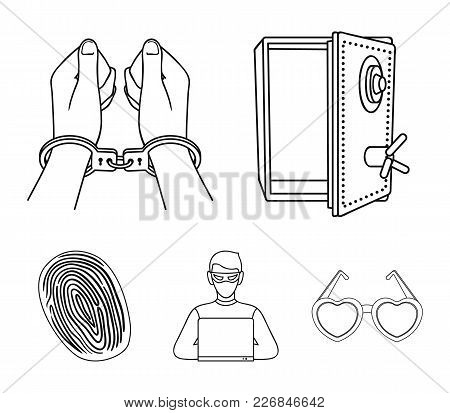Opened Safe, Handcuffs On The Hands, A Hacker, A Fingerprint. Crime Set Collection Icons In Outline