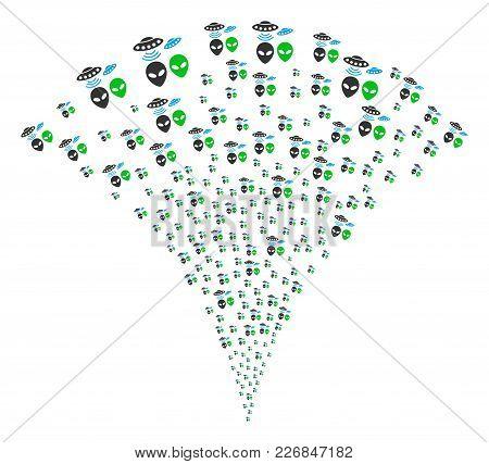 Ufo Symbols Festive Fountain. Vector Illustration Style Is Flat Iconic Symbols. Object Fountain Crea