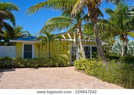 Beautiful Florida House With Palms Trees And Landscaping