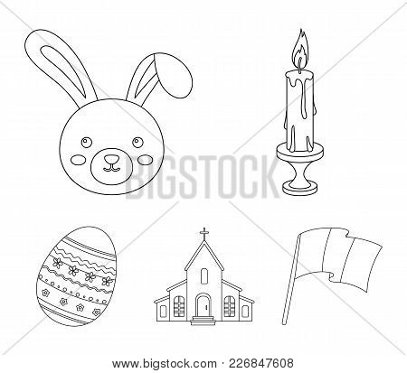 Church, Candle, Easter Bunny And Painted Egg.easter Set Collection Icons In Outline Style Vector Sym