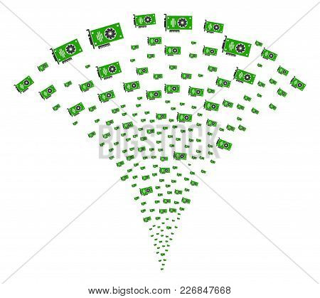 Video Gpu Card Fireworks Fountain. Vector Illustration Style Is Flat Iconic Symbols. Object Fountain