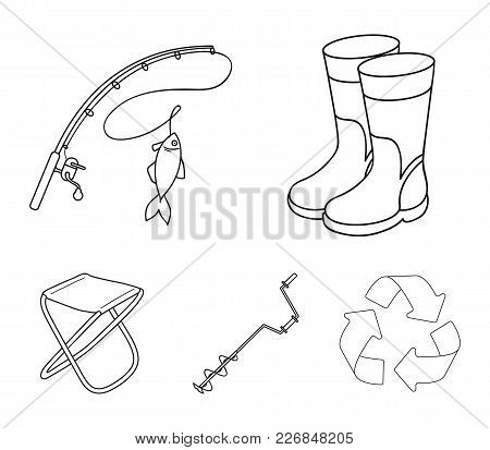 Fishing, Fish, Catch, Fishing Rod .fishing Set Collection Icons In Outline Style Vector Symbol Stock