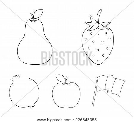 Strawberry, Pear, Apple, Pomegranate.fruits Set Collection Icons In Outline Style Vector Symbol Stoc