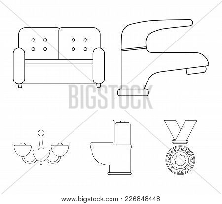 Crane, Sofa, Toilet, Chandelier.furniture Set Collection Icons In Outline Style Vector Symbol Stock
