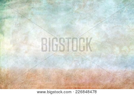 Sheet Of Paper With Blurry Watercolor Paints, On Top Of Greenish Tones, A Blue And Brown Strip Appea