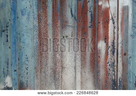 Grunge Abstract Background From The Blurred Watercolor And Acrylic Paints, Strips On The Metal Surfa