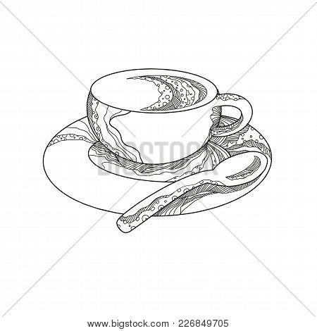 Doodle Art Illustration Of A Cup Of Coffee,a Brewed Drink  On Saucer With Teaspoon Done In Mandala S
