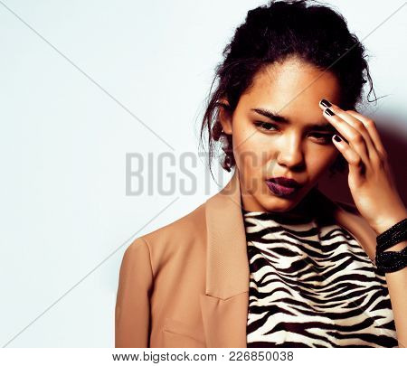 Young Pretty African American Woman Isolated On White Background Happy Smiling, Wearing Fashion Hips