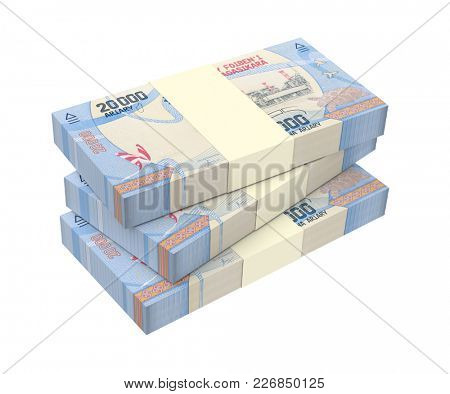 Malagasy ariary bills isolated on white with clipping path. 3D illustration.