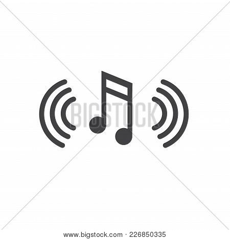 Musical Note With Sound Wave Icon Denoting Music Soundwave Being Played
