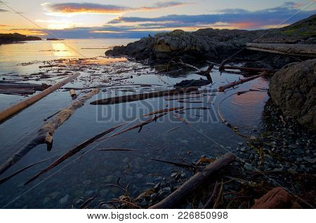 Rising Sun Lights The Distant Clouds And Nearby Driftwood Along The Coast Of Southern Saanich Penins