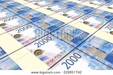 Russian ruble bills stacks background. 3D illustration.