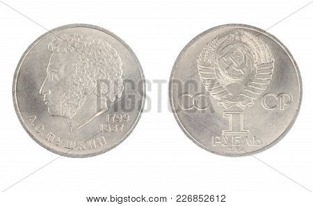 Set Of Commemorative Of The Ussr Coin, The Nominal Value Of 1 Ruble.from 1984, Shows Alexander Pushk