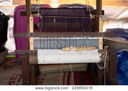 Weaving Silk In Traditional Way With Manual Loom In Vietnam, Closeup