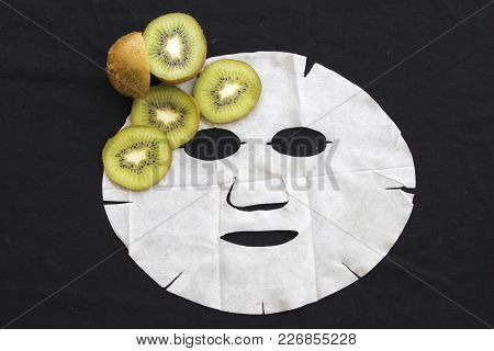 Real Nature Sheet Mask Extracts From Fruit Kiwi For Face Skin Care Brightening Pure Nature On Backgr