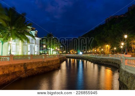 Night Scenery Of The Town On The River In Hon Tre Island, Nha Trang, Vietnam