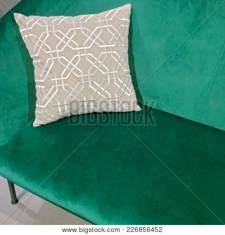Elegant Green Velvet Sofa With Ornate Cushion. Expensive Furniture.