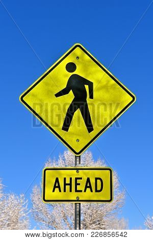 Metal Signs Indicating Pedestrian Walkway Ahead Against A Clear Blue Sky
