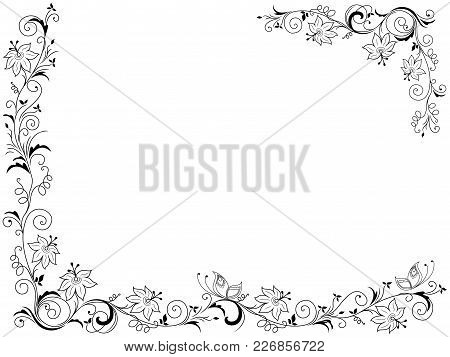 Greeting Card With Ornate Swirl Floral Frame  Isolated On The White Background, Vector Illustration