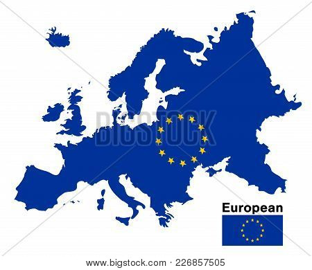 European Flag Map On A White Background