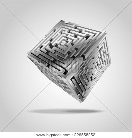 Vector Of Metallic Maze Cube In Futuristic Style