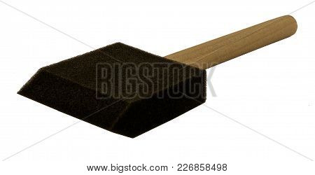 Foam Brush With Wooden Handle On Side