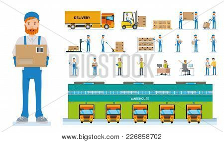 Warehouse Workers Cartoon Vector Characters. Set Of Various Poses And Emotions. Vector Flat-style Il