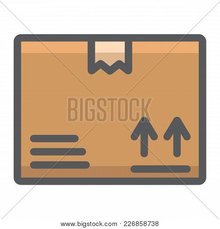 Carton Box Filled Outline Icon, Logistic And Delivery, Cardboard Box Sign Vector Graphics, A Colorfu