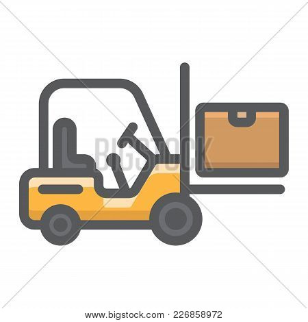 Forklift Delivery Truck Filled Outline Icon, Logistic And Delivery, Cargo Vehicle Sign Vector Graphi