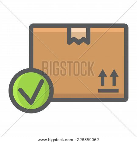 Carton Box With Check Mark Filled Outline Icon, Logistic And Delivery, Order Delivery Sign Vector Gr