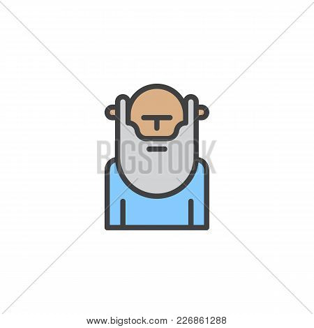 Wiseman With Beard Filled Outline Icon, Line Vector Sign, Linear Colorful Pictogram Isolated On Whit