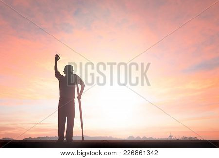 Silhouette Freedom Humble Man Rise Hands Up Inspire Good Morning. Christian Worship Praise God In Th