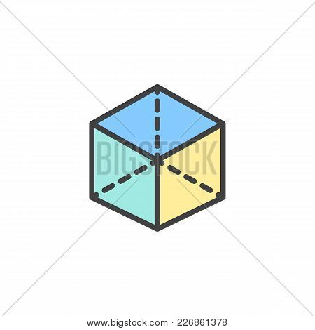 3d Cube With Projection Filled Outline Icon, Line Vector Sign, Linear Colorful Pictogram Isolated On