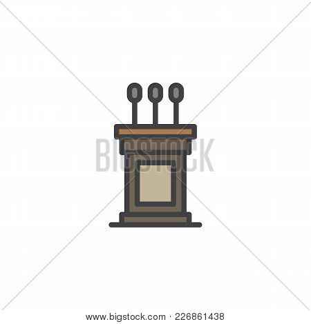 Podium Filled Outline Icon, Line Vector Sign, Linear Colorful Pictogram Isolated On White. Tribune S