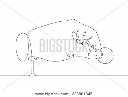 Continuous One Line Drawing Hand Palm Fingers Gestures.hand Holding Fingers With A Coin