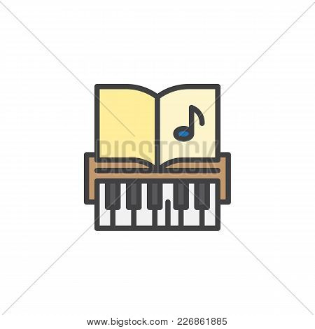 Piano Keys And Music Notes Filled Outline Icon, Line Vector Sign, Linear Colorful Pictogram Isolated