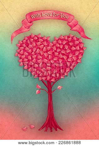 Heart Tree With Ribbon Hand Drawn By Gouache Paint. Fantasy Illustration For Congratulation Valentin