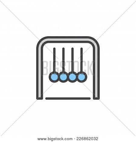 Newton Cradle Filled Outline Icon, Line Vector Sign, Linear Colorful Pictogram Isolated On White. Ph
