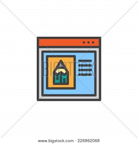 Internet Browser With Pencil Filled Outline Icon, Line Vector Sign, Linear Colorful Pictogram Isolat