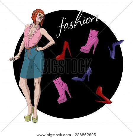 Fashion Vector Illustration. Beautiful Young Model Woman With Various Shoes