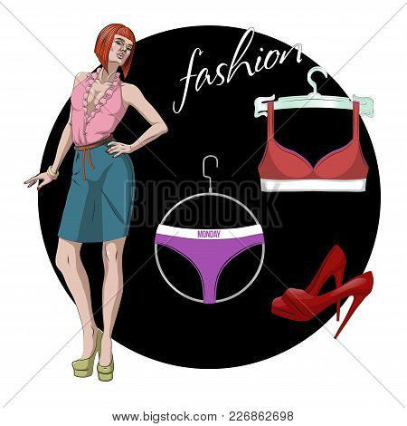 Fashion Vector Illustration. Beautiful Young Model Woman With Underwear Set And Shoes
