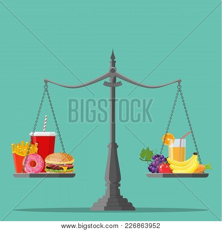 Concept Of Weight Loss, Healthy Lifestyles, Diet, Proper Nutrition. Vegetables And Fast Food On Scal