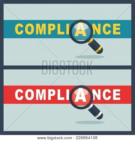 Illustration Of Compliance Word With Magnifier Concept
